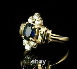 Domaine Vintage 1. Ct Oval Blue Sapphire Diamond 14k Or Jaune Au-dessus De L'anneau