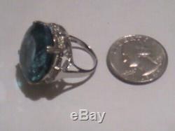 Domaine Vintage 35 Ct. Aquamarine & Bague Saphir 14 Carats En Or Blanc 925 Taille 6,25