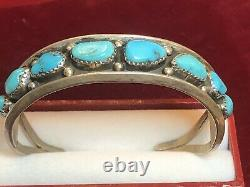 Domaine Vintage En Argent Sterling Cuff Bracelet Turquoise Amérindien Signé Hn