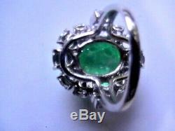 Domaine Vintage Énorme 14.50ct Terre Miné Emeraude Sapphire 925 Bague 14k Taille 5.75
