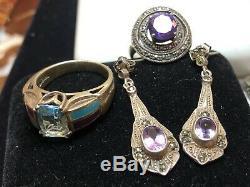 Domaine Vintage Lot De 5 Pierres Précieuses En Argent Sterling Bijoux Bagues Boucles D'oreilles Grenat