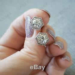 Dormeuses Rondes En Diamant Blanc De 2,00 Ct À La Taille En Or Blanc 14k, Vintage
