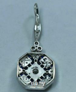 Drop Dangle Vintage Art Déco Boucles D'oreilles En Filiprece 2.3ct Diamond 14k Or Blanc Sur