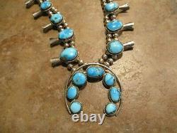 Dynamite Vintage Navajo Sterling Carico Lake Turquoise Squash Blossom Collier