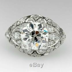 Edwardian Antique Vintage Fiançailles Anneau De Mariage 2 Ct Diamant 14k Or Blanc Fn