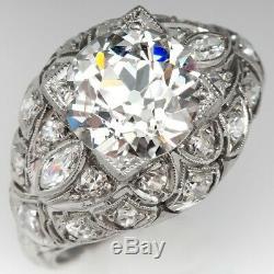 Edwardian Vintage Antique Fiançailles Bague De Mariage Bague En Argent 925 2,5 Ct Diamant