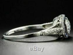 Edwardian Vintage & Antique Mariage En Or Blanc De Saphir Bague Fn 4 Ct Diamant