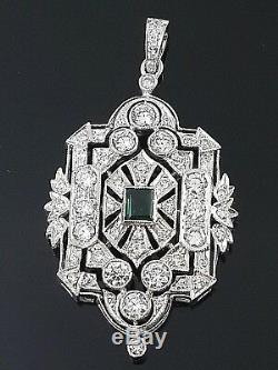 Émeraude Verte Taillée En Argent Sterling Style Vintage Bijoux Pendentif Livraison Gratuite