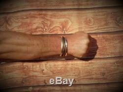 En Argent Massif De Mens Ouvert Vintage Matt Look Couple Bracelet