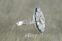 Engagement De Mariage Bague Vintage Art Déco 1.4ct Diamant Rond Argent 925