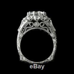 Engagement De Mariage Bague Vintage Rétro 2.1 Ct Diamant Rond 14k Plaqué Or