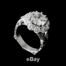 Engagement De Mariage Bague Vintage Rétro 2.1 Ct Ronde Diamant Or Blanc 14 Ct Fini