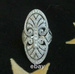 Engagement Edwardien Ouvrir Le Travail Filigree Ring 2.3 Ct Diamond 14k Or Blanc Sur