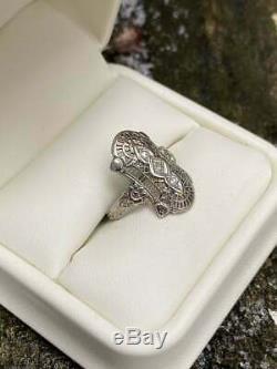 Engagement Filigrane Vintage Art Deco Ring 2 Ct Diamant Rond En Or Blanc 14k Plus