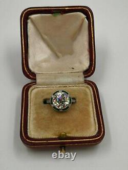 Engagement Vintage 2.6ct Diamond Art Déco Saphir 14k Or Blanc Sur Bague Halo