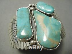 Énorme Bracelet Vintage En Argent Sterling Éclatant Avec Turquoise Navajo Royston