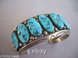 Énorme Heavy Vintage Navajo Sterling Silver Kingman Turquoise Cuff Bracelet 108g