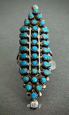 Énorme Long Vintage Zuni Amérindien En Argent Sterling Turquoise Bague Cluster