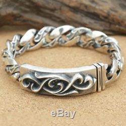 Énorme Lourd Réel Argent 925 Bracelet Twist Vintage Tressé Grain Lien