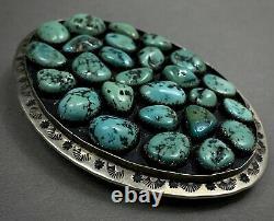 Énorme Old Vintage Navajo Sterling Silver Turquoise Cluster Belt Buckle