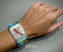 Énorme Rare Vintage Navajo En Argent Sterling Multi Pierre Inlay Bracelet