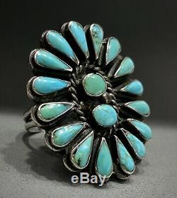 Énorme Vieux Vintage Zuni En Argent Sterling Turquoise Cluster & Heavy Epaisse Anneau