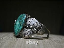 Énorme Vintage Amérindien Navajo Turquoise En Argent Sterling Bracelet
