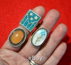 Énorme Vintage Indigène Zuni Navajo En Argent Sterling Turquoise Corail Bague Lot De 16