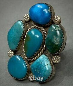 Énorme Vintage Navajo Amérindien Argent Sterling Turquoise Cluster Bague