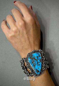 Énorme Vintage Navajo En Argent Sterling Kingman Turquoise Bracelet Manchette 100 Grammes