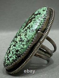 Énorme Vintage Navajo En Argent Sterling Vert Spiderweb Matrice Turquoise Bague Wow