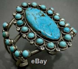 Énorme Vintage Zuni Carico Lac Turquoise En Argent Sterling Bracelet Grappe