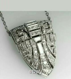 Estate 1950's Art Déco Diamond Pendentif Avec 18 Chaînes En Or Blanc 14k Plus