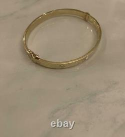 Estate Vintage 18k Yellow Gold Over Love Bangle Mens/women's 7.5 Bracelet Fin