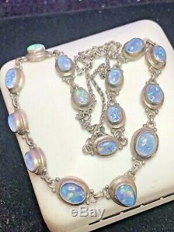 Estate Vintage Collier D'opale En Argent Sterling Gemstone, Cabochons D'opale Irisée