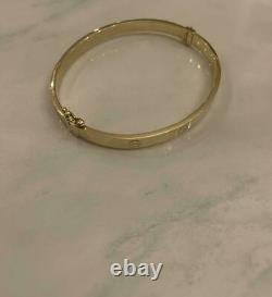 Estate Vintage Or Jaune 18k Sur L'amour Bangle Hommes / Femmes 7.5 Bracelet Fin