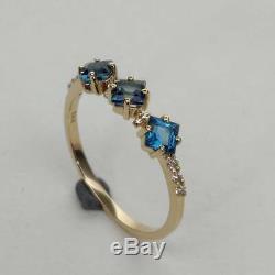Estate & Vintage14k Or Jaune Plus De Londres Avec Topaze Bleue Diamant Promise Ring
