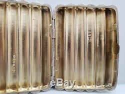 Étui À Cigarettes Orné En Argent Sterling Antique / Vintage 3 1/2 X 2 1/2 80g