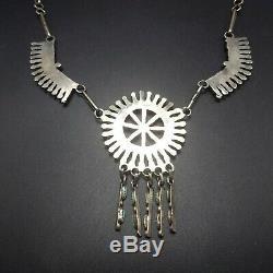 Exquis Vintage Zuni Argent Sterling Et Fin Turquoise Needlepoint Necklace