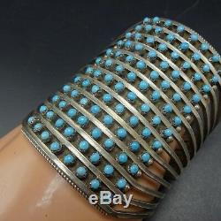 Extra Large Bracelet Manchette Snake Eye Manchette Vintage En Argent Sterling Zuni Argent 73g