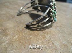 Exubérant Vintage Zuni En Argent Sterling Petit Point Turquoise Cluster Bracelet
