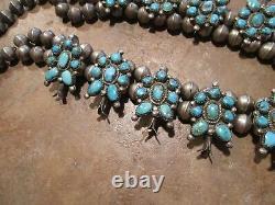 Exubérant Vintage Zuni Sterling Petit Point Turquoise Squash Blossom Collier
