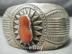 Fabuleux Vintage Navajo Corail Bracelet En Argent Sterling Vieux