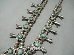 Femmes Vintage Navajo Royston Turquoise Collier En Argent Sterling Squash Blossom