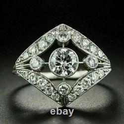 Feuilles Navette Forme Vintage Art Déco Anneau 14k Or Blanc Sur 2.01 Ct Diamant