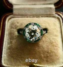 Fiançailles Vintage Antique Art Déco Anneau 3 Ct Rond Diamant 14k Or Blanc Sur