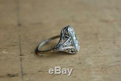Filigrane Vintage Art Déco Bague De Fiançailles De Mariage 2 Ct Diamant Or Blanc 14 Ct Fn