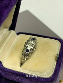 Filigre Vintage Art Déco Bague De Fiançailles En Or Blanc 14k Sur 0,12 Ct Diamond