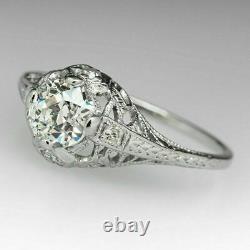 Filigree Vintage Victorian Edwardian Ring 2 Ct Round Diamond 14k Or Blanc Plus