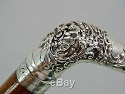 Fin Antique Tiffany Argent Sterling Walking Cane Stick Hawaii Boston 1876